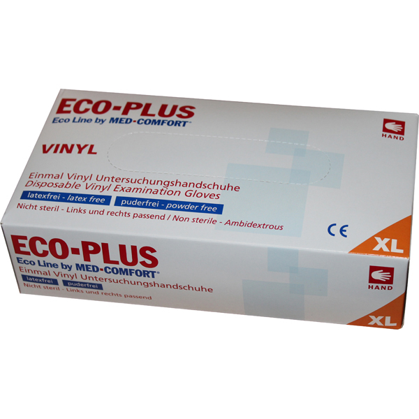 ECO-Plus Vinyl Handschuhe Med-Comfort 1000 St.( 1 Karton, 10x100er)
