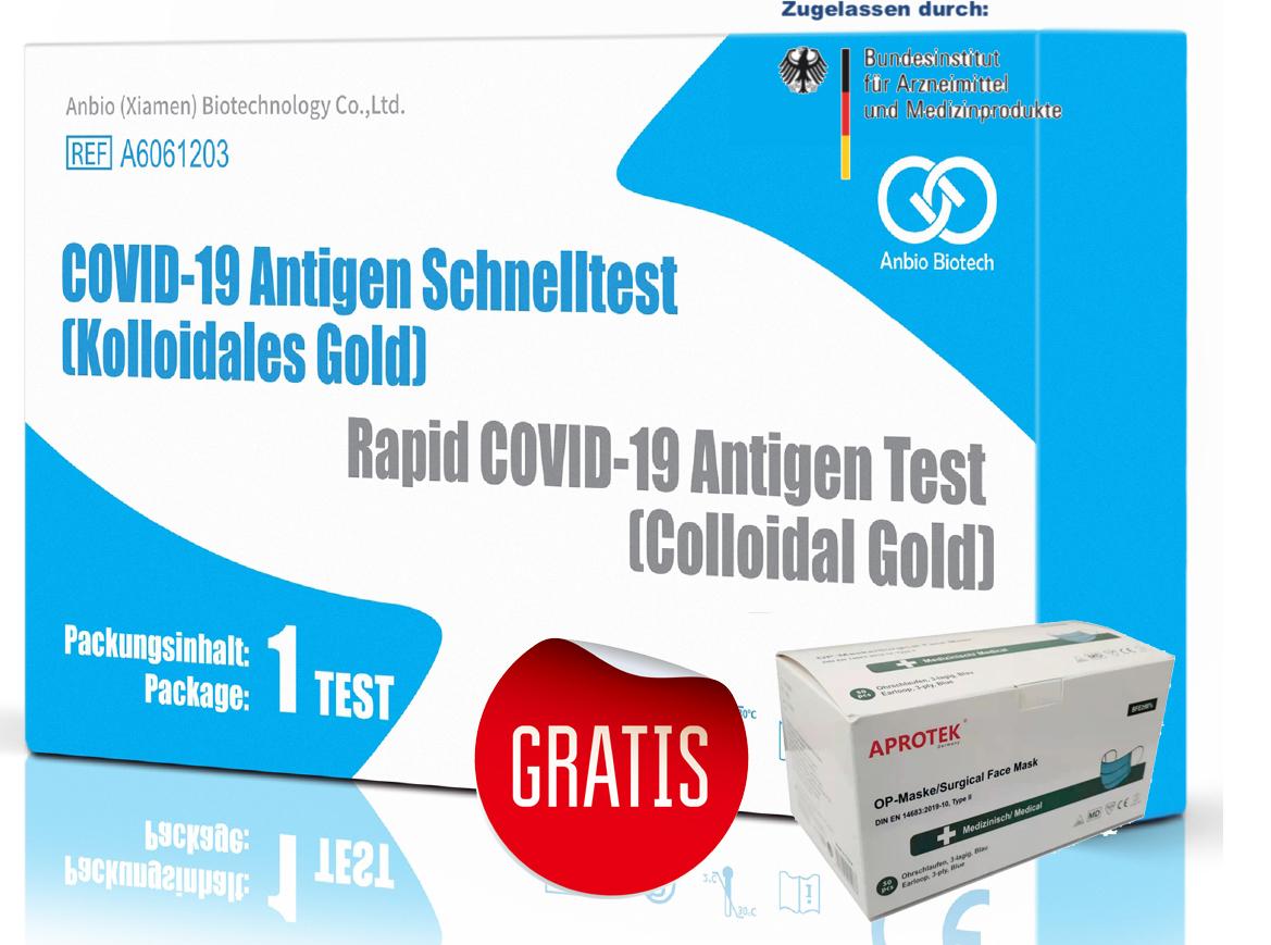 100 Stück, Einzeln verpackt,  Anbio Spucktest COVID-19 Antigen-Schnelltest