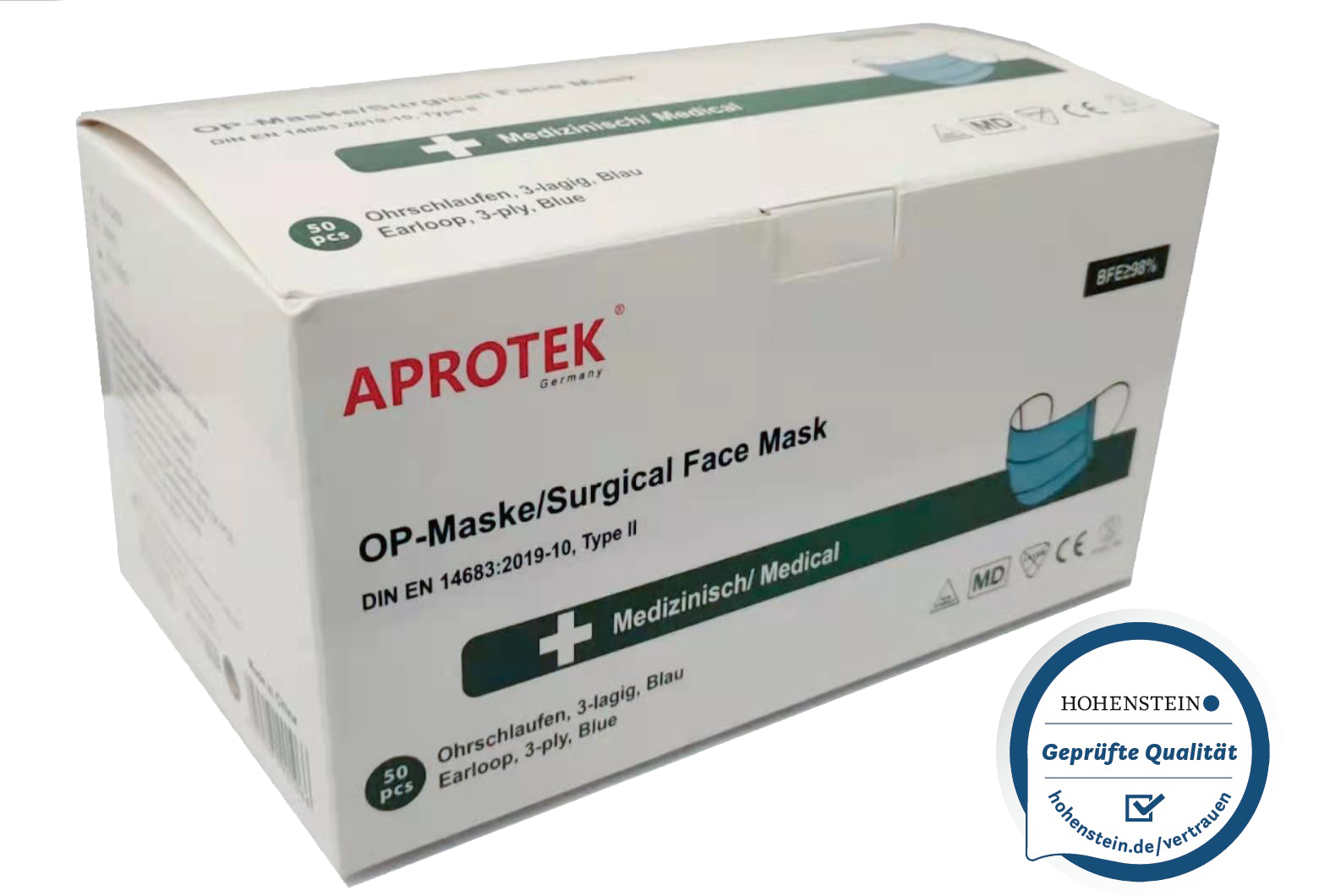 APROTEK® TYPE II Medizinische OP-Maske 2000St.(1 Karton, 40x50er)