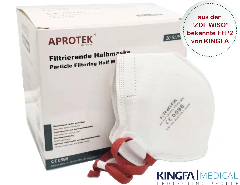 APROTEK ® KINGFA Profi FFP2 Atemschutzmaske CE 0598, 100Stück
