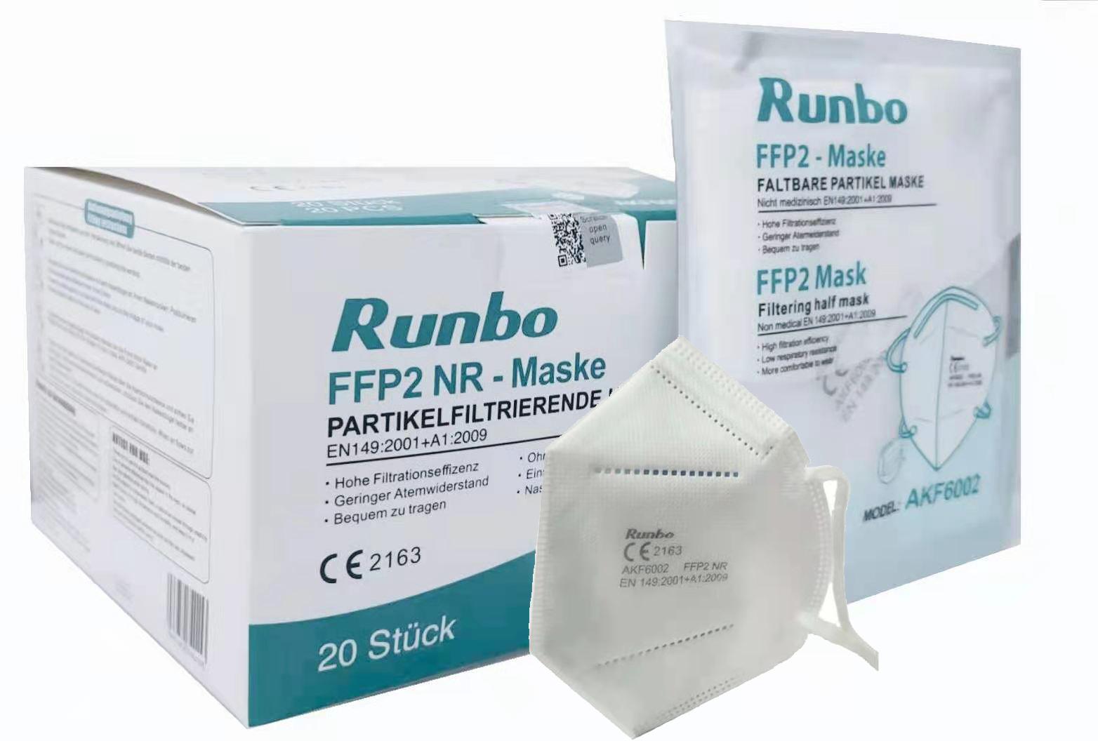 CE 2163 Runbo FFP2 Maske 100 Stück ( einzeln verpackt)