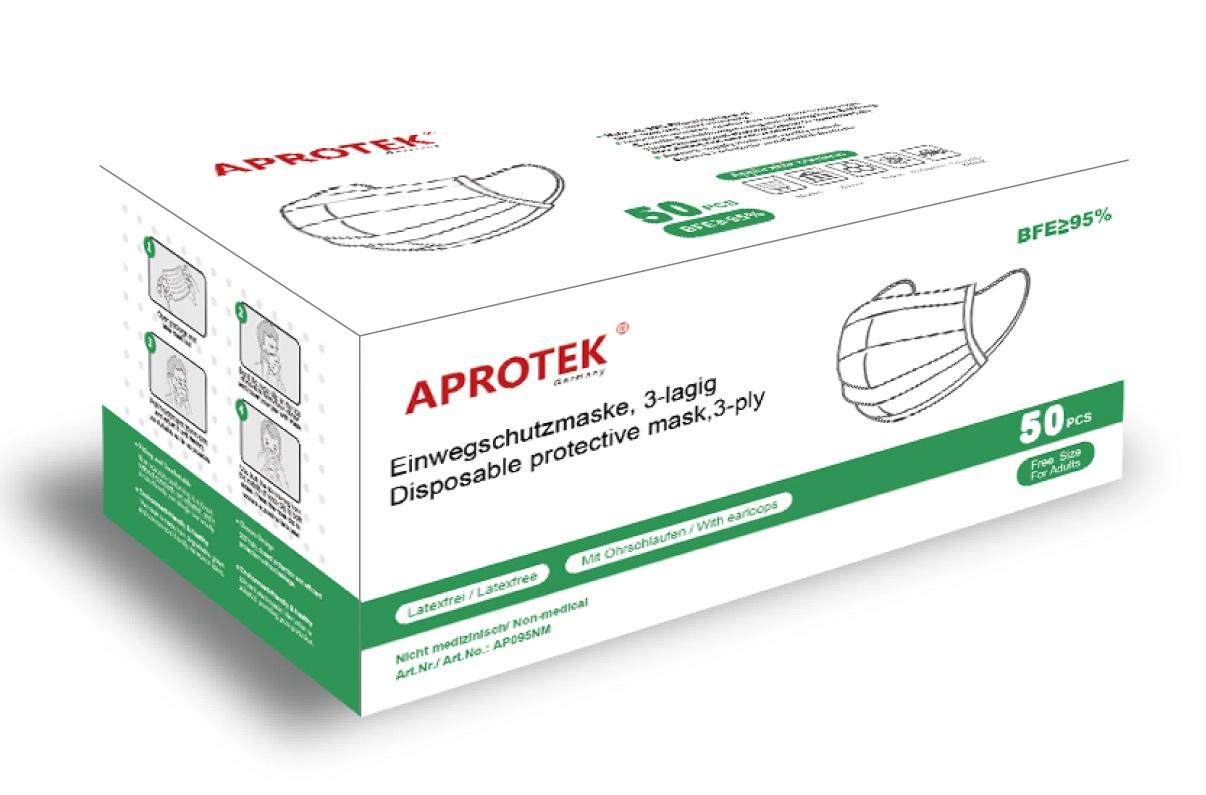 APROTEK® Einweg Maske nicht Medizinisch  ( 1 Box, 50 Stück, 5x10er )